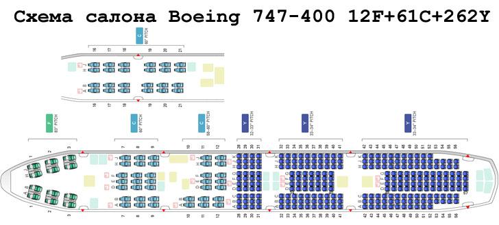 схема boeing 747-400 схема салона